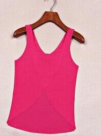 10 шт./партия,, летние женские повседневные рубашки из конфетного цвета, без рукавов, сексуальный однотонный топ с открытой спиной, шифоновый однотонный жилет - Цвет: rose red