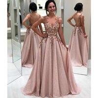 Vestidos de Gala Sexy Глубокий v образный вырез с боковыми разрезами Вечерние платья 2019 Длинные Элегантный Кружевной С бисерной вышивкой Бальные пла