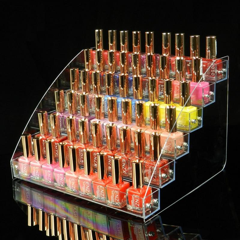 6 Tier Mac Lipstick Jewelry Display Stand Holder Nail Polish Rack New Style Makeup Cosmetic Clear Acrylic Organizer Makeup Shelf