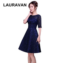 ceb4e50e2e formal brides maids 2018 short dinner dark blue lace bridesmaid dresses  with half sleeves for wedding occassion free shipping