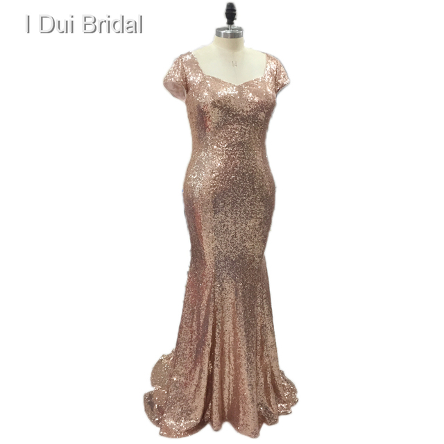 b90ab4768eab Badgley Plus Size Sequin Bridesmaid Dresses Sheath Champagne Rose Gold  Wedding Maid of Honor Factory Custom Made
