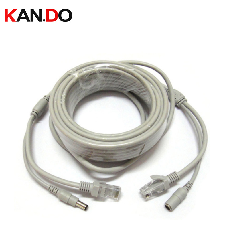 15 20 30 50Meter RJ45 Net Cable Transmission Cable DC 12V CAT5/CAT-5e CCTV Extension CCTV Network Ethernet Cable For IP Camera