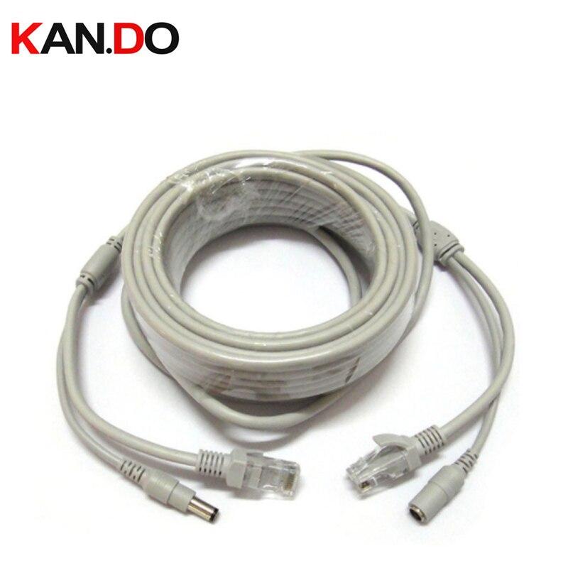 15/30/50M RJ45 Transmission Cable + DC 12V Power CAT5 CAT-5e CCTV Extension CCTV Network Ethernet Cable For IP Camera NVR System