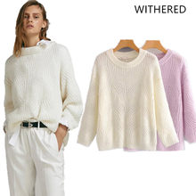Withered 2018 BTS women sweater england style solid o-neck none regular  pullovers mohair sweater women tops plus size 0829 f14108b57881