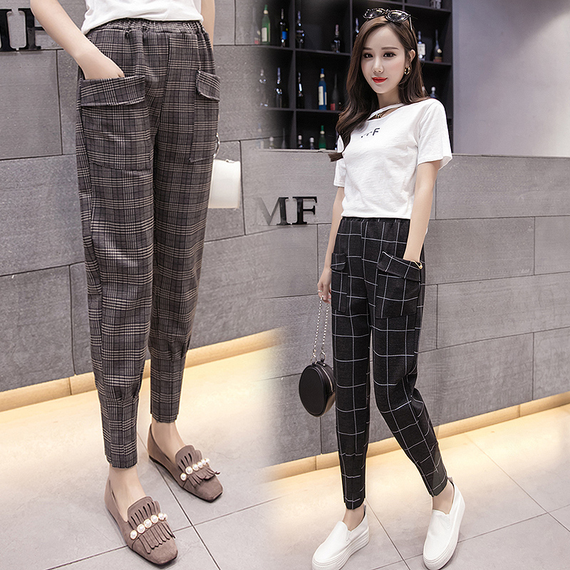 f9dcd47b5e4 2018 New Arrival Spring and Summer Plaid Pants Female Slim Fit Harlan  Korean Style Carrot Casual Pencial Trousers Women Clothing