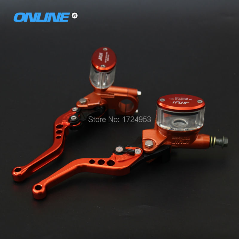 CNC aluminium Front Brake Master Cylinder Pump Lever for Electric motorcycle scooter CNC 5 adjuster lever M10 oil hose Orange motorcycle cnc front