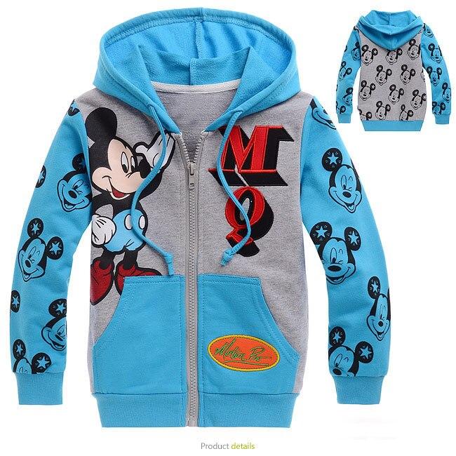 Микки мультфильм пальто Европа и Америка Мода для мальчиков и девочек спортивная куртка толстовки карман на молнии детский Повседневное ве... ...