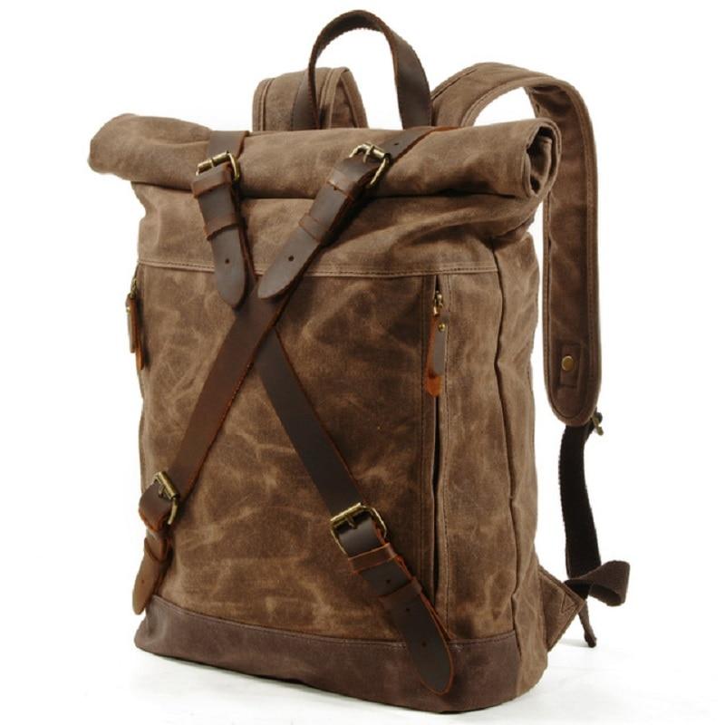 M269 nowa luksusowa rocznika płótno plecaki dla mężczyzn wosk z oliwek płótno skóra podróży plecak duża wodoodporne plecaki Retro Bagpack w Plecaki od Bagaże i torby na  Grupa 2
