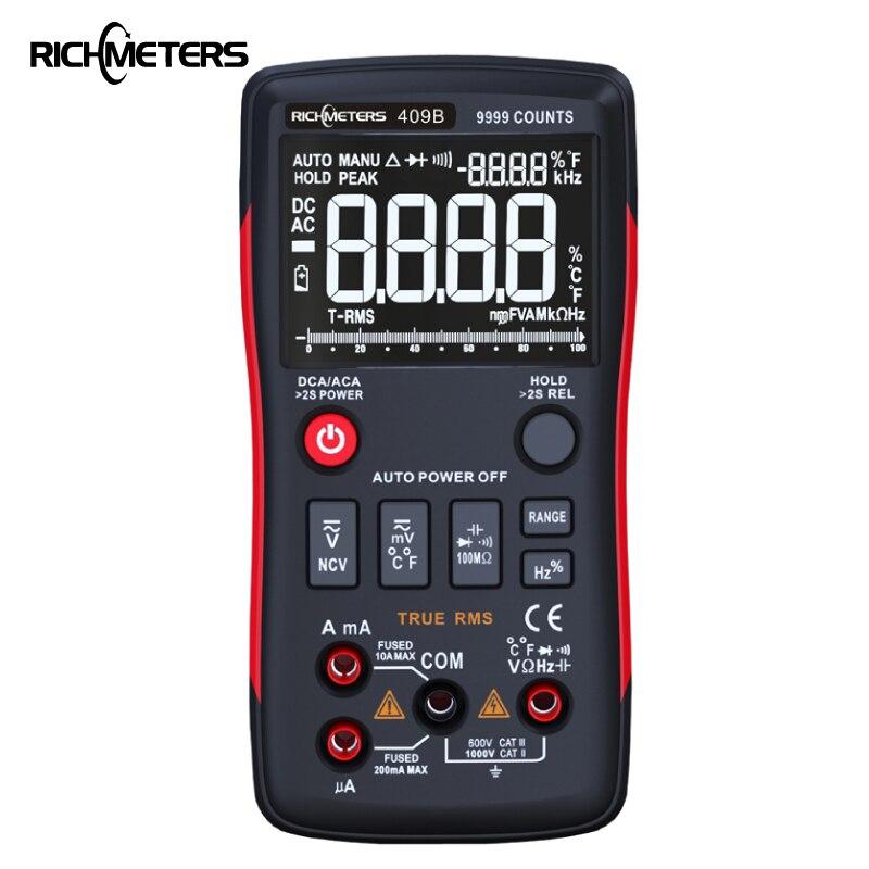 Botón multímetro Digital RM409B True-RMS 9999 cuentas con gráfico de barra analógica AC/DC voltaje amperímetro corriente Ohm auto/Manual