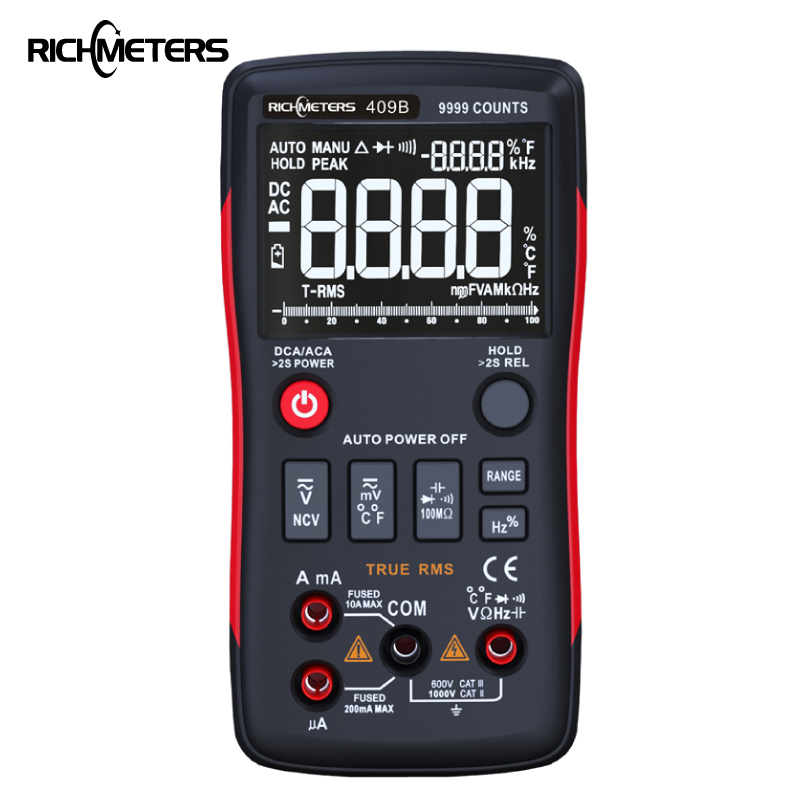 RM409B True-RMS Digital Multimeter Button 9999 Counts With Analog Bar Graph AC/DC Voltage Ammeter Current Ohm Auto/ManualRM409B True-RMS Digital Multimeter Button 9999 Counts With Analog Bar Graph AC/DC Voltage Ammeter Current Ohm Auto/Manual