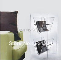 Floor Standing Crystal Acrylic Magazine Organizer Plexiglass Magazine Display Rack Display Rack For Magazine
