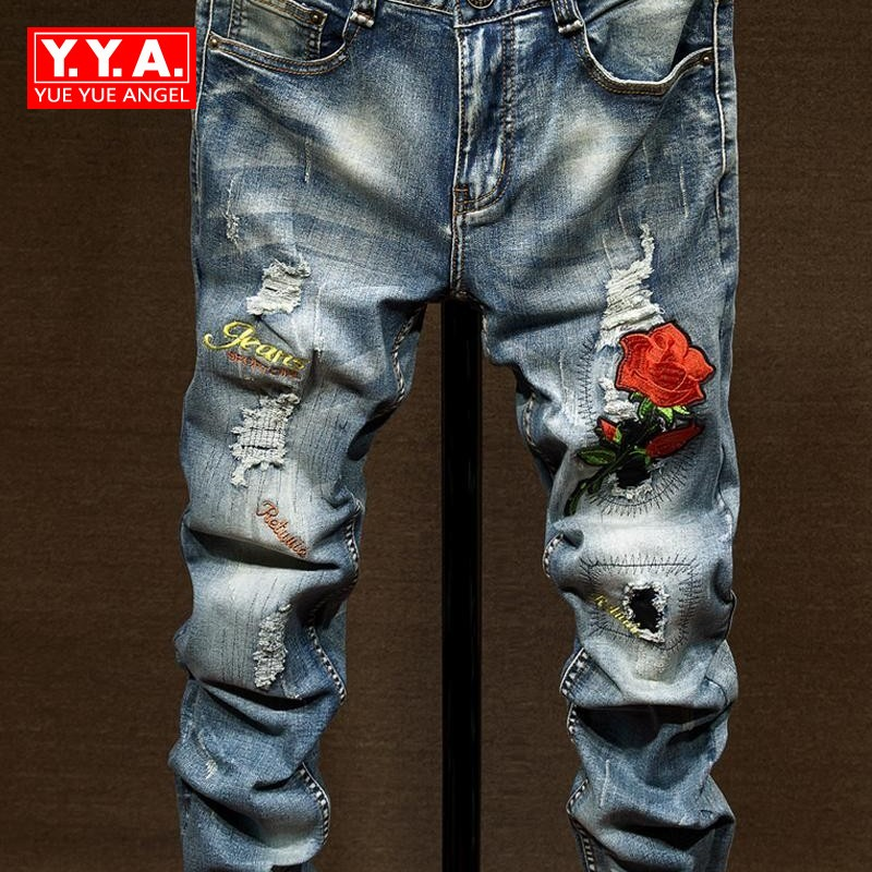 Fashion New 2018 Jeans Man Pants Stretchy Straight Slim Fit Embroidery Floral Jeans Casual Male Classic Jean Hole Ripped Jean