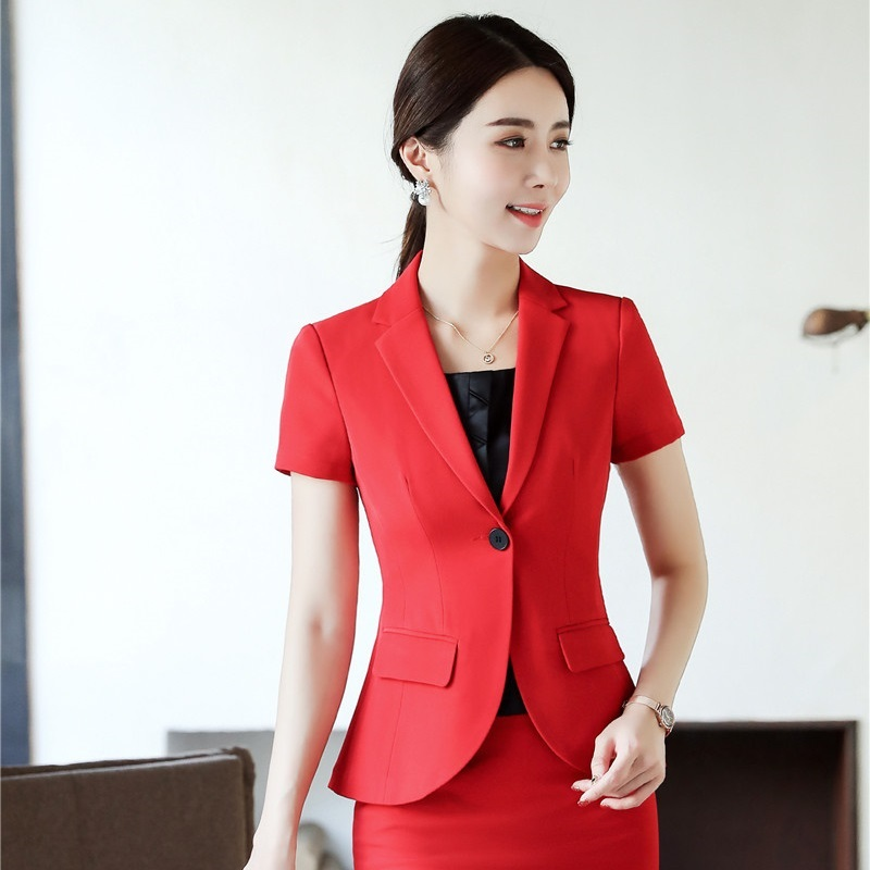 2019 Summer Formal Elegant Women's Blazers Ladies Red Blazer Jackets Short Sleeve Work Wear Business Office Uniforms Styles