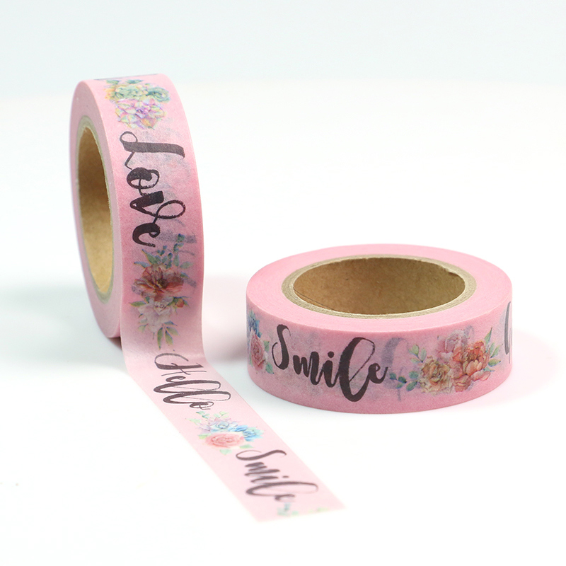 1PC quot Good quot quot Love quot quot Smile quot quot Hello quot Floral Cute Paper Masking Washi Tape Set Japanese Stationery Scrapbooking Supplies in Office Adhesive Tape from Office amp School Supplies
