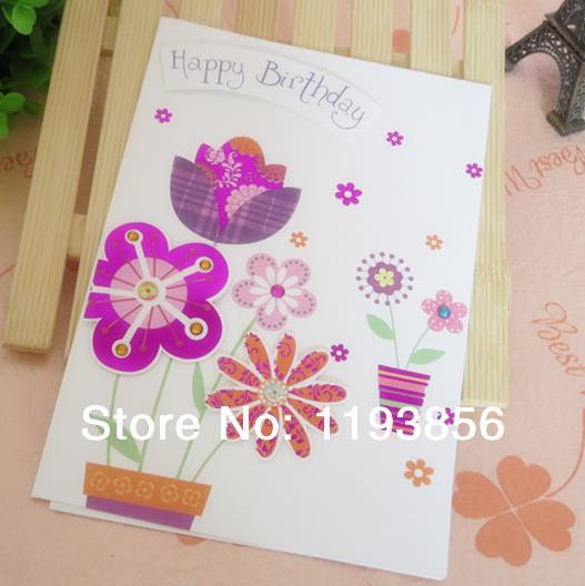 8 Flower Patterns Mixed Birthday Greeting Card With 3D Sticker Big