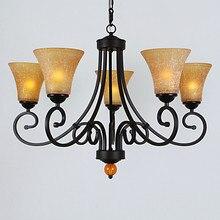 90 В-220 В Черная Урожай LED Люстра Лампа С 6 Огни Люстры Для Dinnig Гостиная Блеск Бесплатно доставка