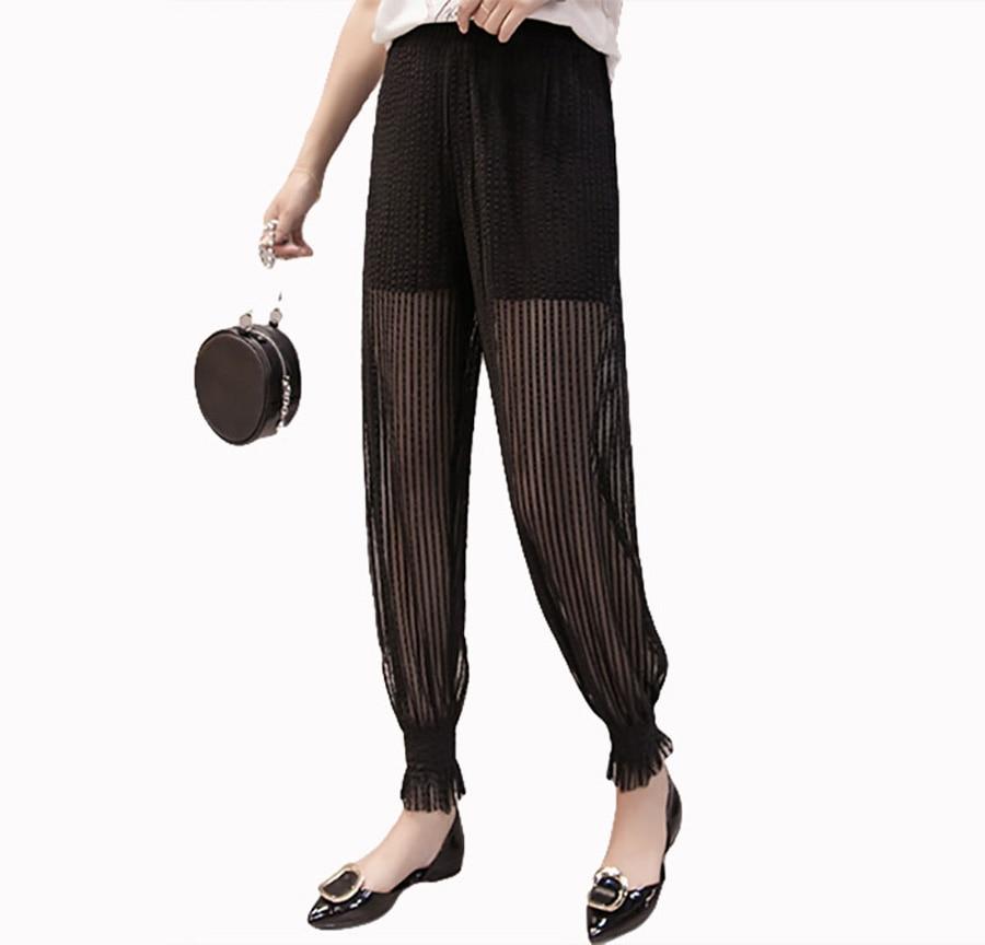 Flying Roc 2019 Summer Women Casual Pants Ankle Length Korean Style Women Femme Loose Mesh High Waist Plus Size Pants