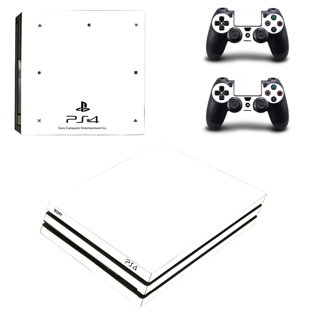 Pure White Vinyl Skin Sticker for Sony PS4 Pro Console and 2 Controllers Decal Cover Game Accessories
