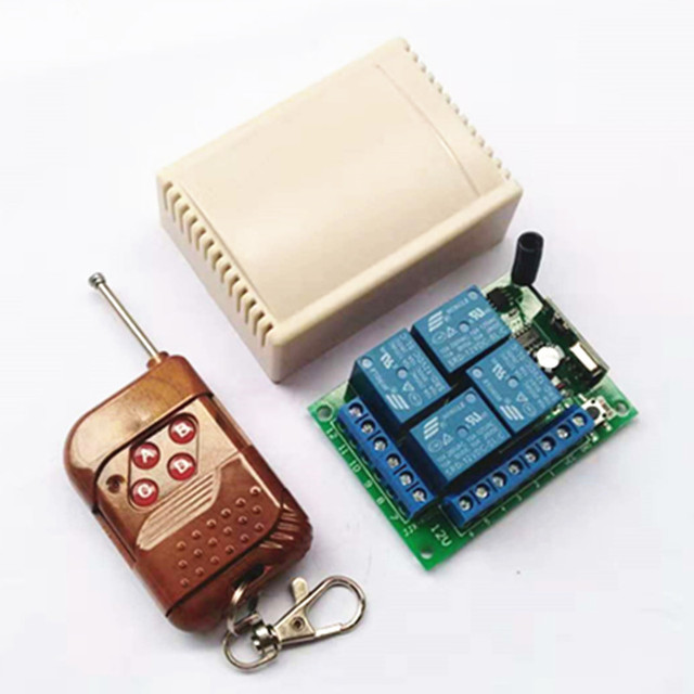 433 Mhz האלחוטי אוניברסלי מתג DC12V 4CH ממסר מקלט מודול עם 4 ערוץ RF שלט רחוק 433 Mhz1527 לאה