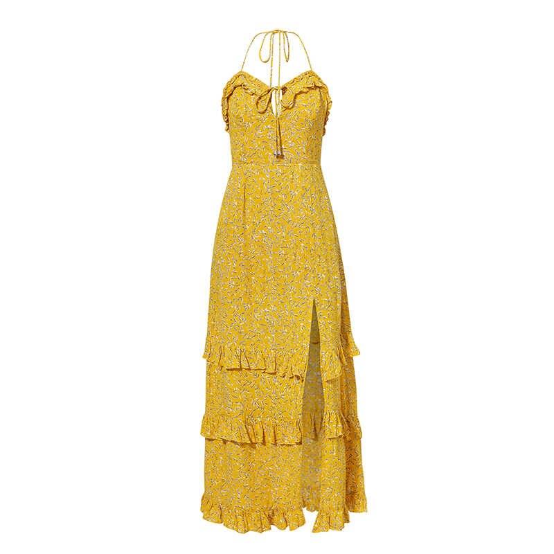 Conmoto Жёлтое летнее платье в стиле бохо с принтом, длинное платье с высокой талией, платье на завязках, платье с разрезом, повседневное пляжное платье