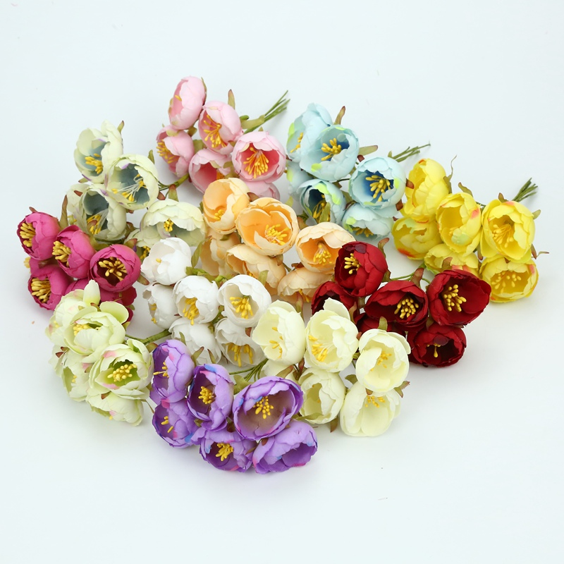 6pcs decorative flowers wreaths silk tea buds roses stamen diy christmas home decoration accessories wedding artificial flowers