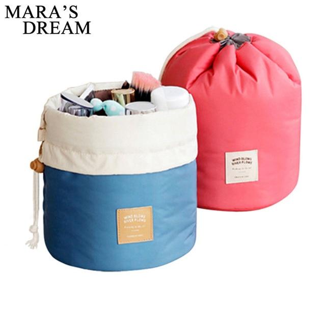 Maras 夢バレル型旅行化粧品袋ナイロン高容量巾着エレガントなドラムバッグメイクアップオーガナイザー収納袋