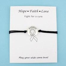 Диабетический тип 1 медицинский оповещение браслеты с шармами боец рака груди повязка ювелирные изделия для женщин мужчин унисекс ювелирные изделия подарок