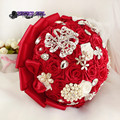 Red ivory bridal bridesmaid flower wedding bouquet	ramo de novia bouquet fleur mariage bruidsboeket