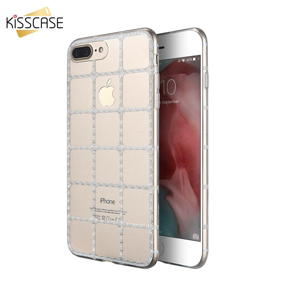 KISSCASE Red Clear Fundas Para iPhone 7 Plus Capa Transparente Ultra Fina Caja D