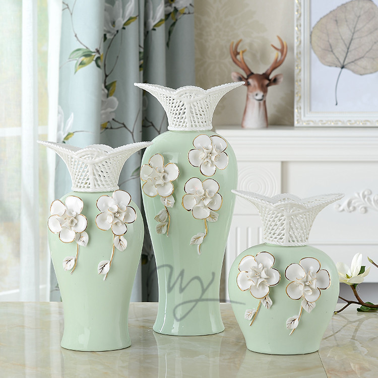 Jingdezhen Ceramic Vase Flower Art New Chinese Home Crafts Decoration Hotel Sample Room Soft Dress Matching Flowers Vases