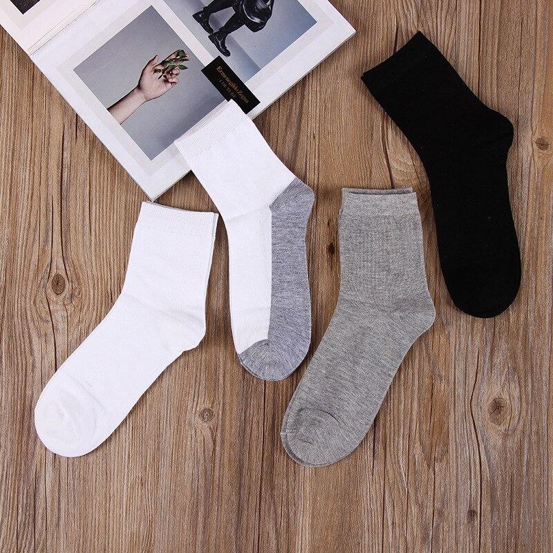 Pairs Mens Crew Socks Comfortable Cotton Dress Men Business Black Male
