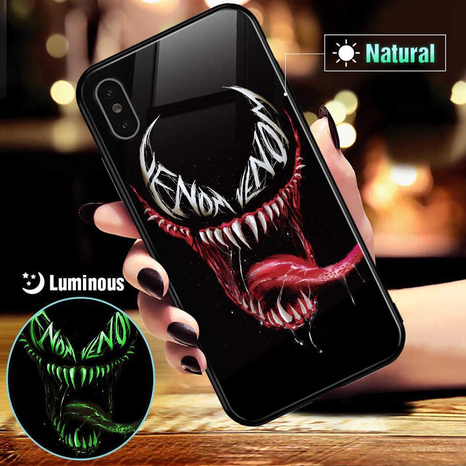Brilho luminoso em vidro temperado escuro caso led para iphone 11 pro max xs xr 6 s 7 8 plus 7 plus 8 mais 11pro coque marvel telefone capa