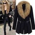 New Women Elegant Wool Blend Winter Coat Office Lady Big Fur Collar Black Slim Zipper Warm Basic Overcoat Outwear Kaban Parka