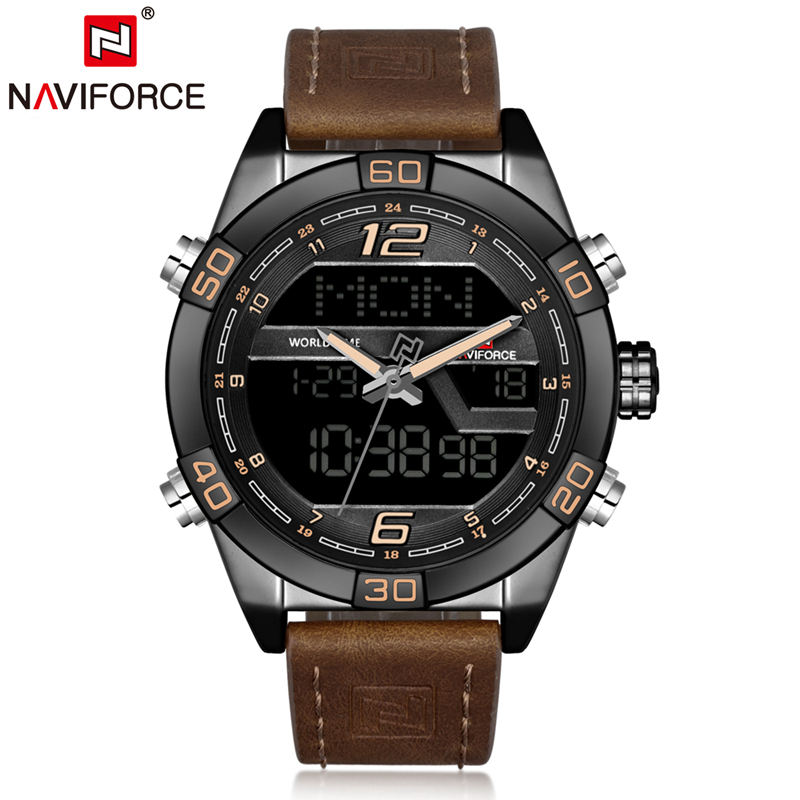 NAVIFORCE Men Leather Band Wristwatches Multifunction LED Waterproof Dual Display Quartz Analog Date Digital Wrist Watch 9128 naviforce men silicone band wristwatches waterproof quartz analog display date day week wrist watch fashion casual watches 9107