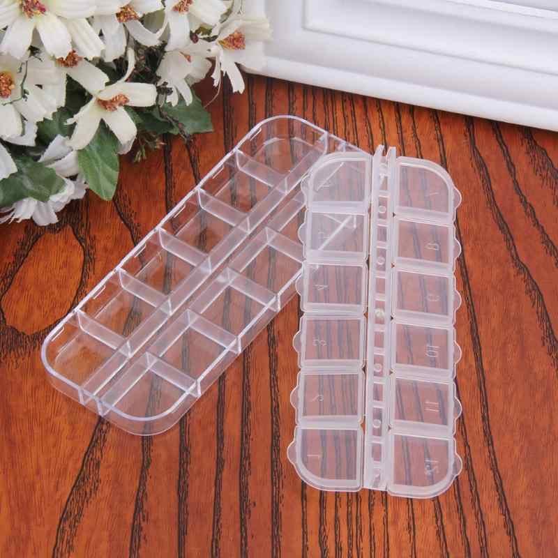 12 Plastic Lege Storage Case Dozen Manicure Gereedschap Transparant Glitter Crystal Rhinestones Dispaly Container Organizer
