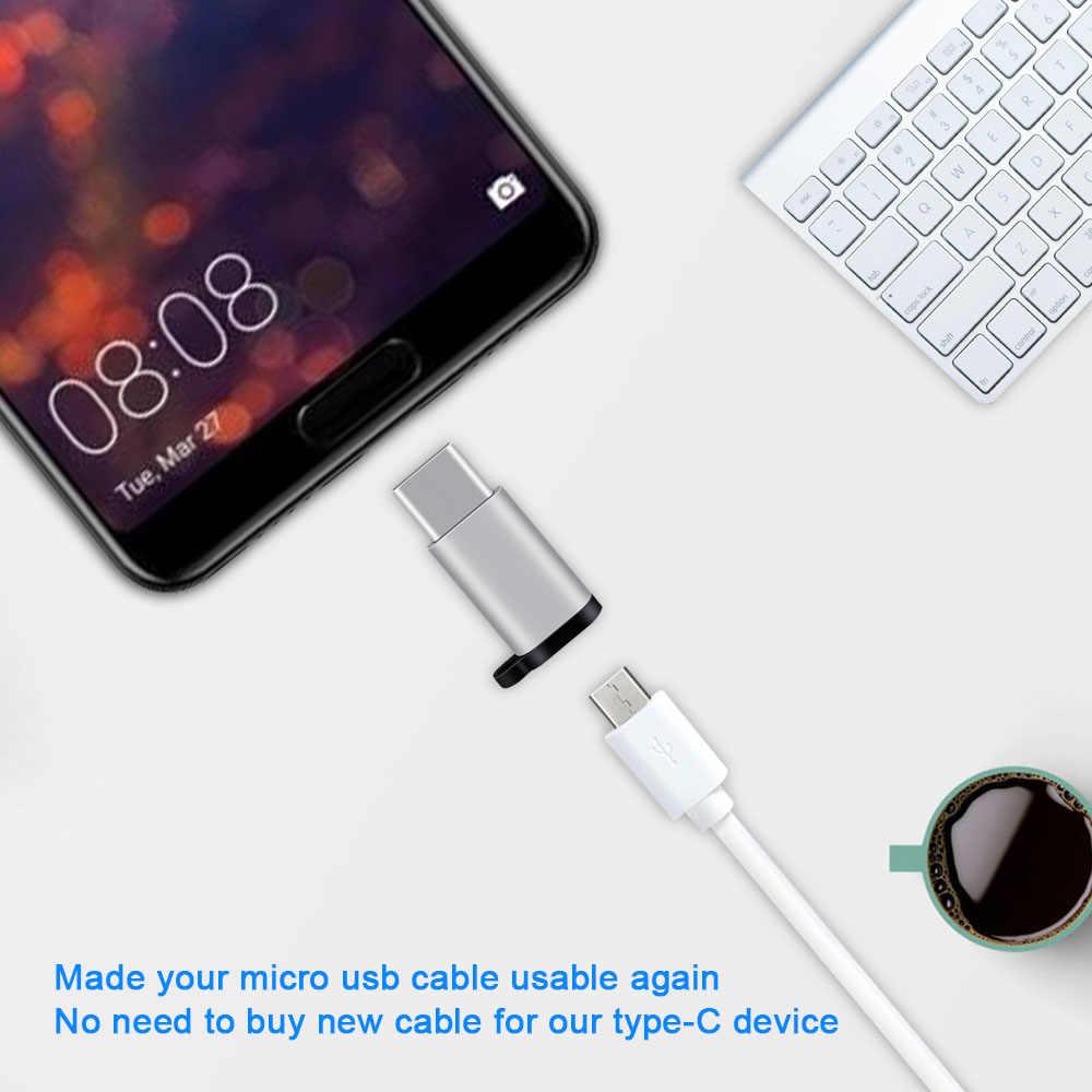 Ascromy 3 Pcs USB TYPE C Adaptor Usb Mikro Perempuan untuk USB-C Pria Konektor Android Charger Kabel Converter Gantungan Kunci Aksesoris
