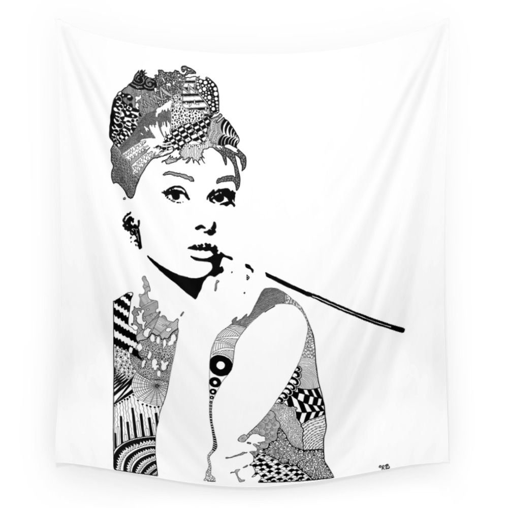 Audrey Hepburn Black And White Wall Tapestry Beach Towel