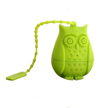 100pcs/lot 2016 Hot Sale Owl Tea Bags Strainers Silicone Teaspoon Filter Infuser Silica Gel Filtration WA0951