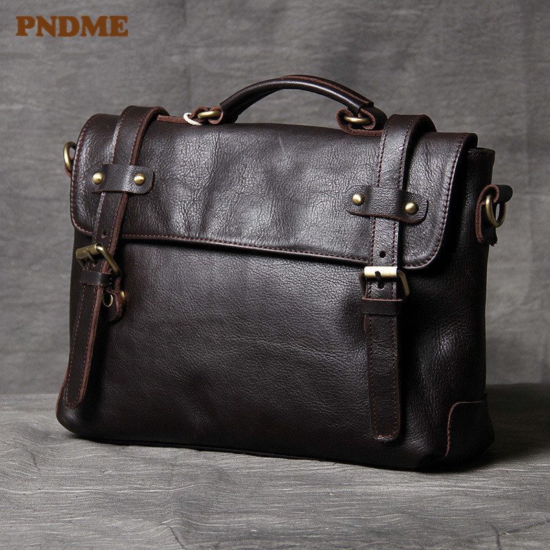 PNDME High Quality Simple Genuine Leather Men's Women's Briefcase Business Soft First Layer Cowhide Black Shoulder Laptop Bags