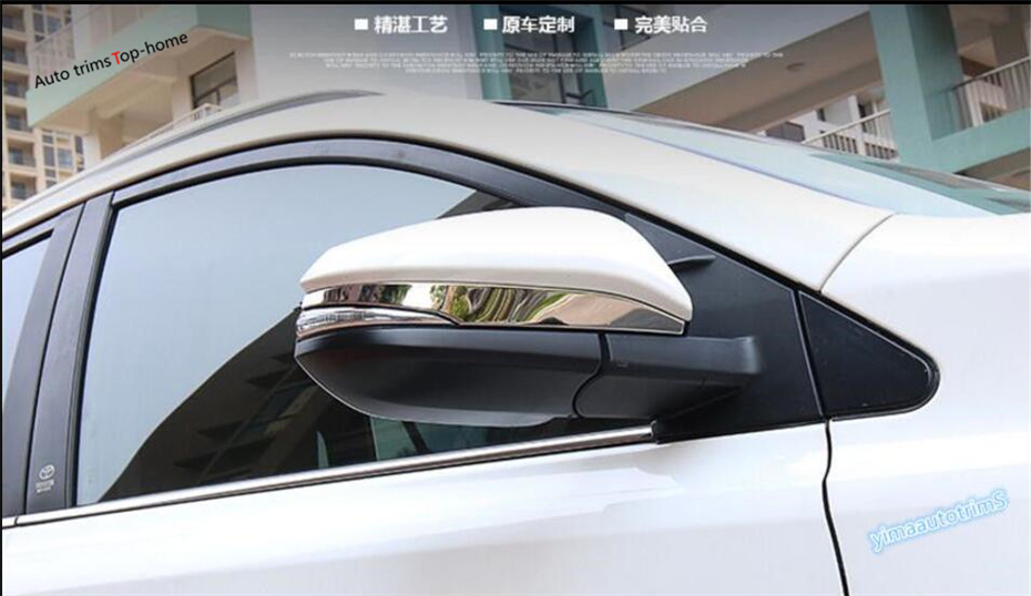 Yimaautotrims Car Door Rear View Mirror Overlay Strip Cover Trim 2 Pcs Fit For Toyota Highlander KLUGER 2017 2018 2019 Exterior in Chromium Styling from Automobiles Motorcycles