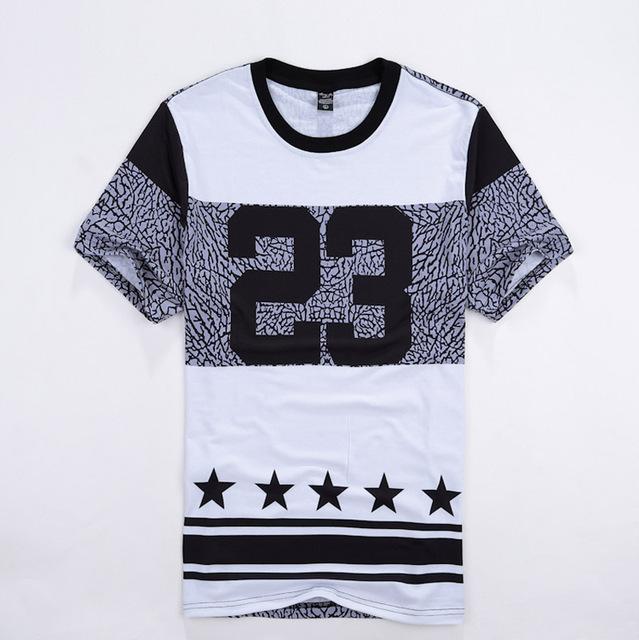 Homens Hip Hop Street wear camiseta número 23 impresso Men Casual moda camisetas Crewneck manga curta ganhos estrelas camiseta plus size