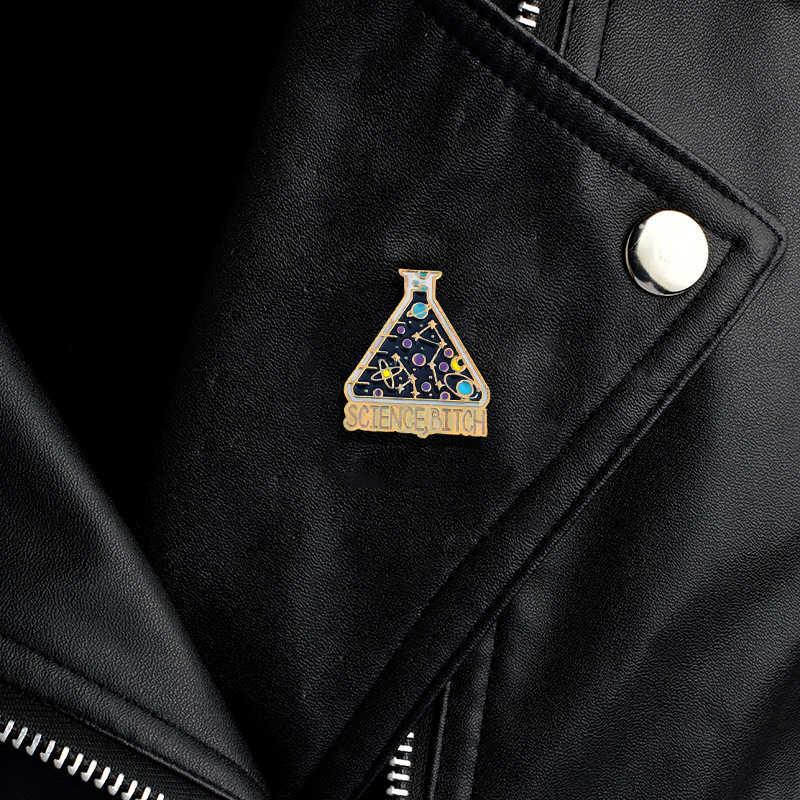 การทดลองวิทยาศาสตร์ถ้วยปฏิกิริยาทางเคมีพื้นที่ดาวเคราะห์สร้างสรรค์เข็มกลัดดาวดวงจันทร์โชคดีขวดเคลือบPin Badgeวิทยาศาสตร์คนรักของขวัญ