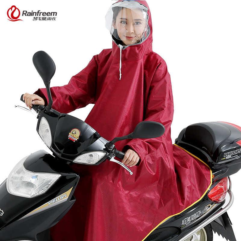 Rainfreem erkekler/kadınlar geçirimsiz Electromobile/bisiklet yağmur panço kalın yağmurluk çift şeffaf kaput yağmur dişli yağmurluk
