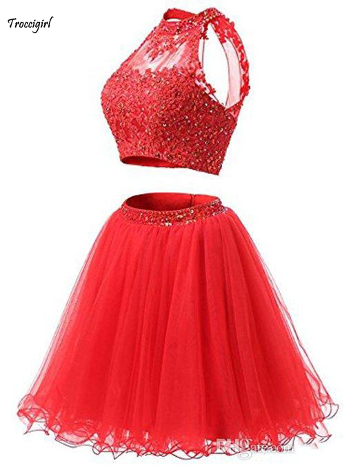 Two Pieces Homecoming   Dresses   High Neck Sleeveless Beaded Lace Tulle Mini Party Gowns Girls Short   Cocktail     Dresses   Custom