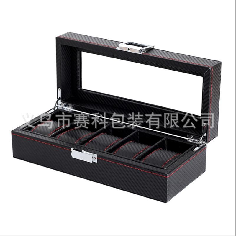 Box 5 Grid Black Watch Case urboks display læderur Case Holder - Tilbehør til ure - Foto 3