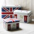 3 unids/lote Union jack/Londres Patrón Organizador Misceláneas Del Organizador de Maquillaje Caja de Almacenamiento de Metal de Estaño de la Galleta de Alimentos Embalaje Del Regalo Decoración caja