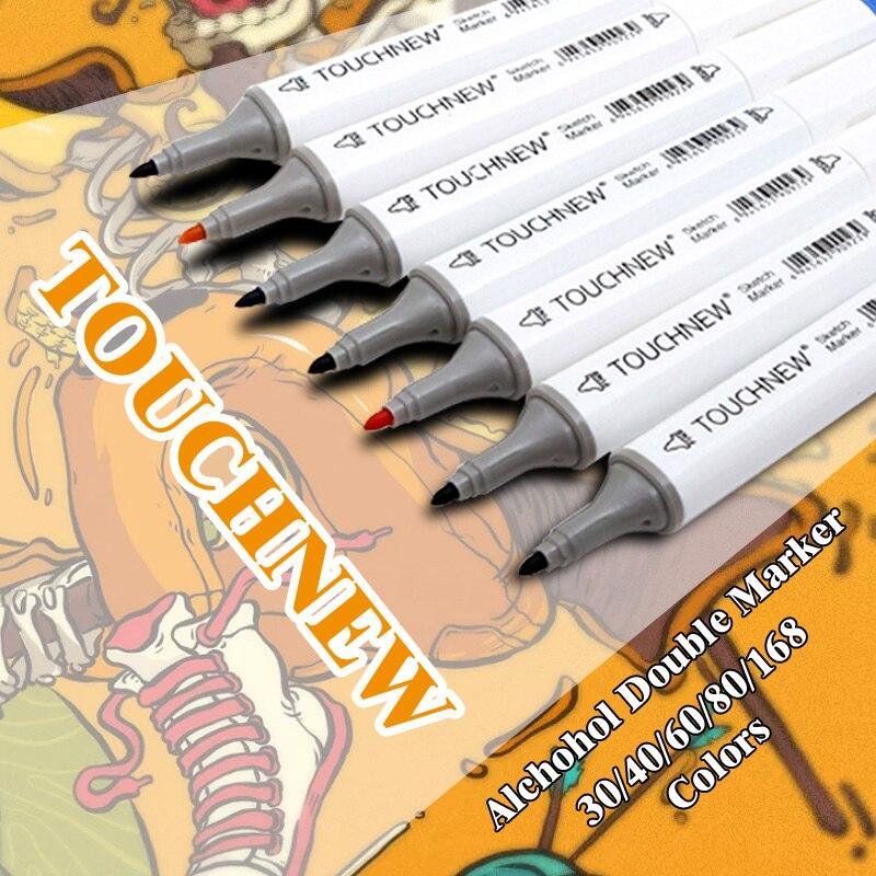 TOUCHNEW 30-80 COLORS Art Mark Pen Alcohol Marker Pen Soluble Pen Cartoon Graffiti Art Sketch Markers For Designers Manga