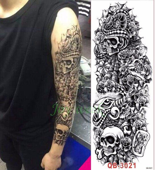 Tatuaje Calavera Johnny Depp tienda online tatuaje temporal impermeable pegatina brazo completo