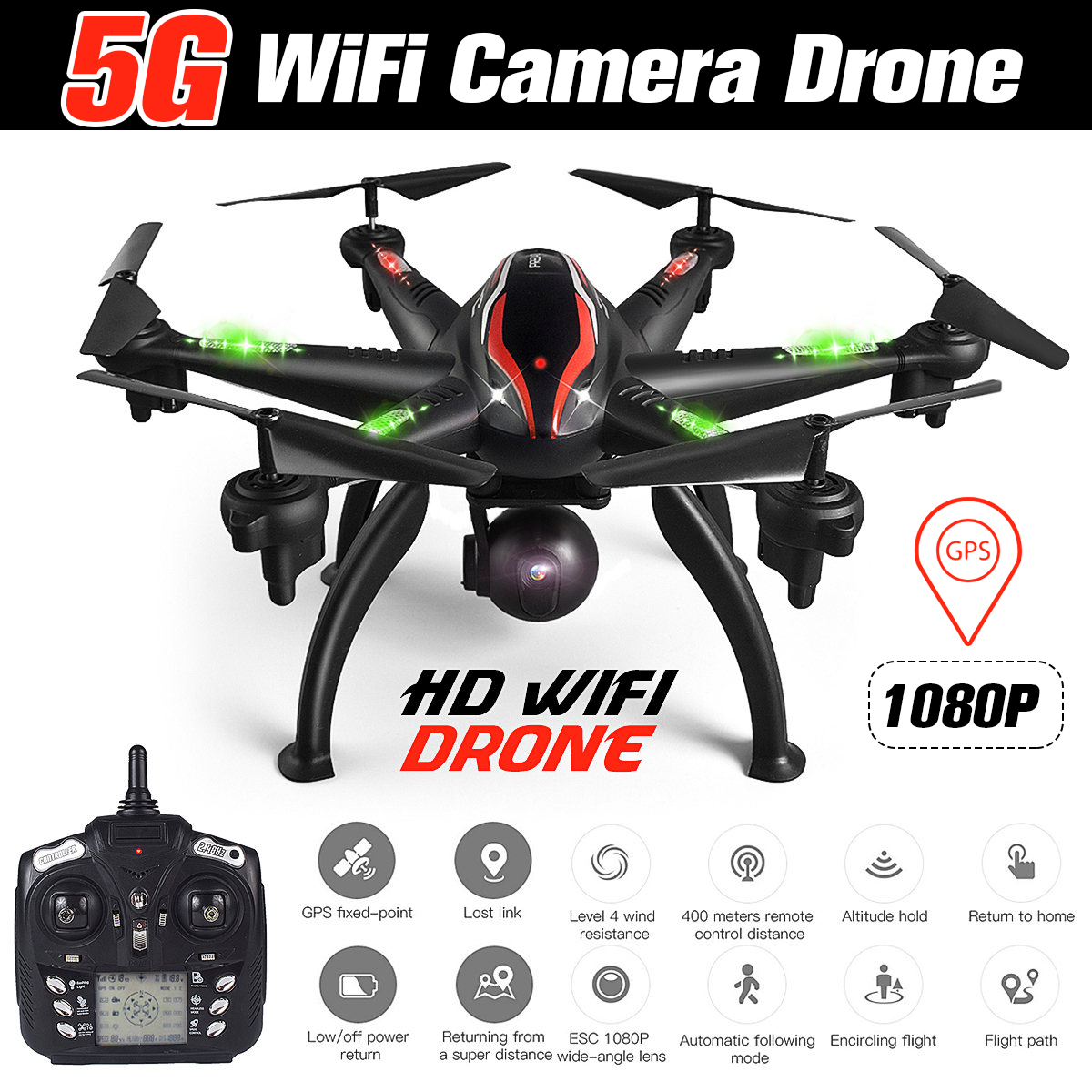Camera Drone Quadcopter Gyro Aerial-Photography Follow Professional Smart 6-Axis 1080P