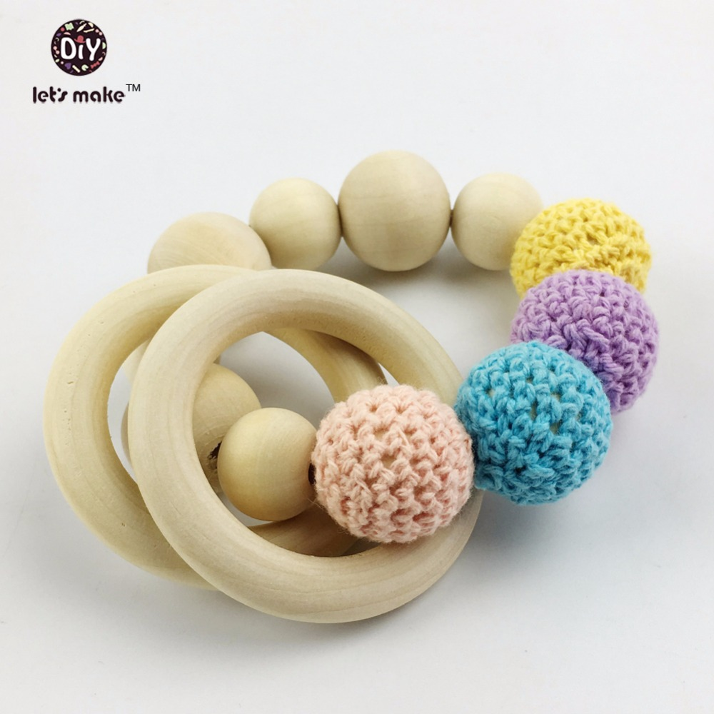 Let's make Set 0f 2pc Baby Teehing Bracelets Mom Jewelry Gifts Natural Wooden Eco-friendly Nursing Rattles Organic Crochet Beads